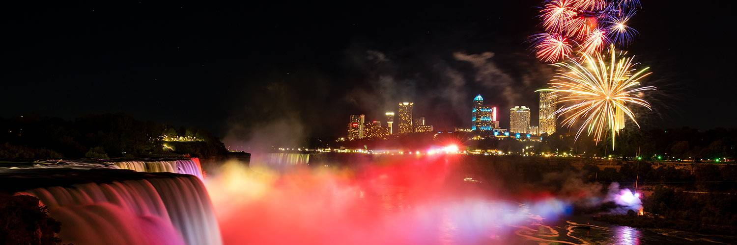 Fireworks show over the falls