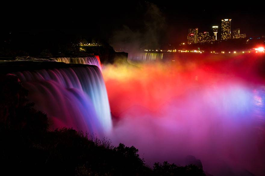 The falls illuminated