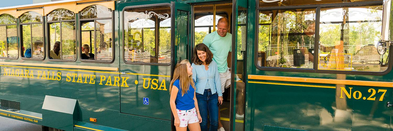 View of a family boarding the Trolley