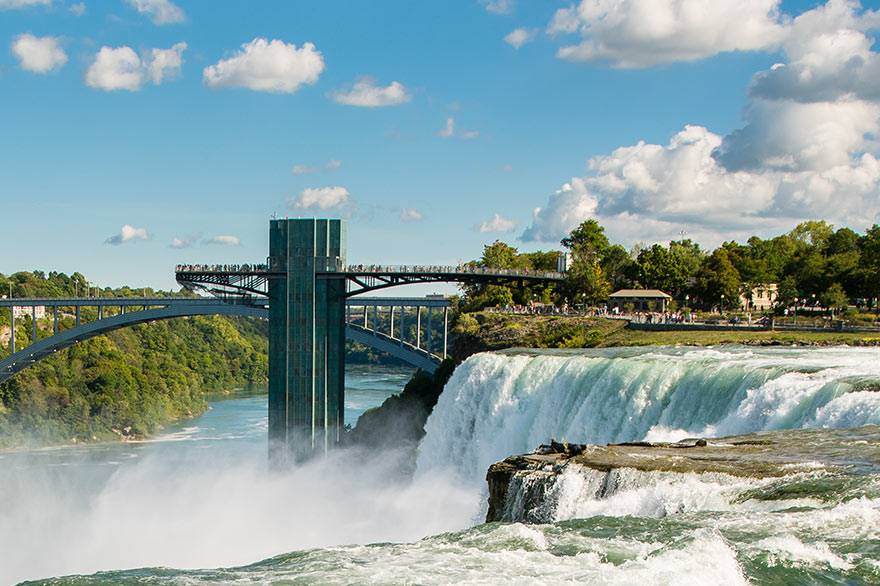 View of the American Falls and Observation Tower at Niagara Falls State Park